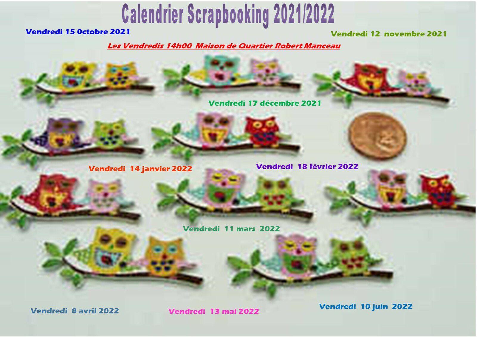 Calendrier Scrapbooking 2021/2022