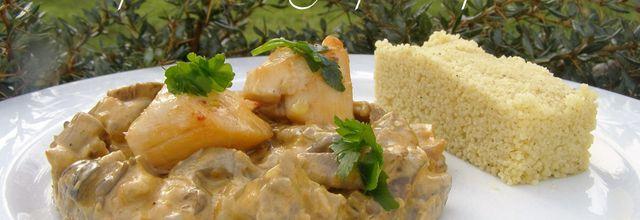 Coquilles Saint-Jacques aux pleurotes, cuisinées à l'huile de noix de coco