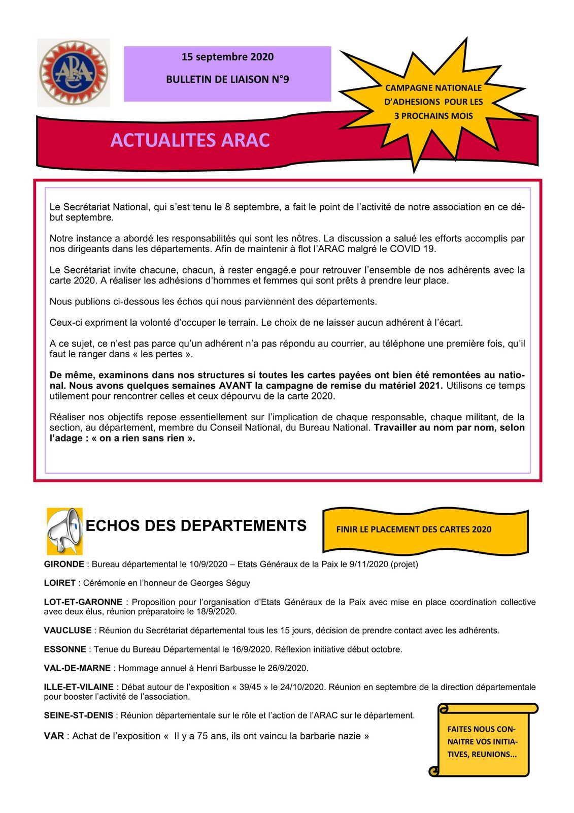 Le bulletin de liaison de l'ARAC n°9 - septembre 2020