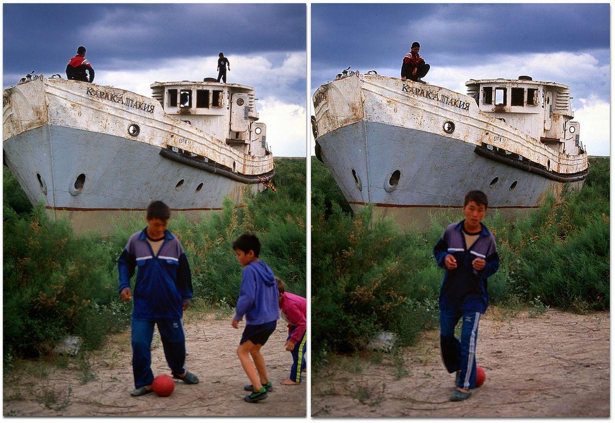 Le bateau Karakapalstan, au milieu de la Mer d'Aral, sert aujourd'hui de terrain de jeux aux enfants de Moynaq