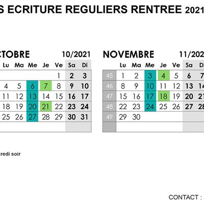 CALENDRIER ATELIERS ECRITURE ON LINE RENTREE