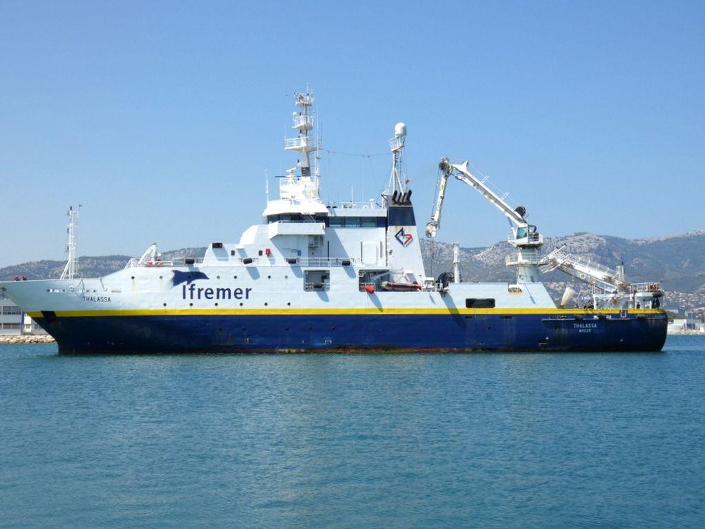 THALASSA , navire de recherche de l' Ifremer , arrivant à la Seyne sur Mer le 01 juillet 2019