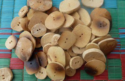Pyrogravure et boutons en calebasse