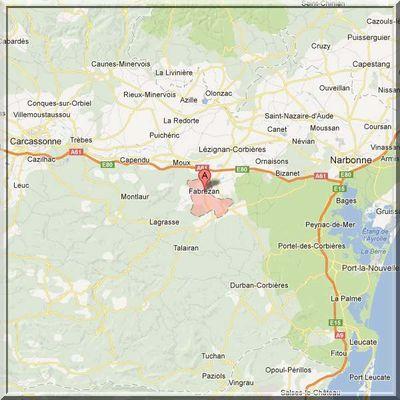 Aude - Fabrezan - Position fortifications sur carte