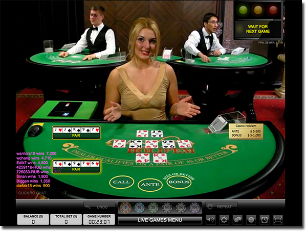 Jouer au casino Hold'em en direct en ligne