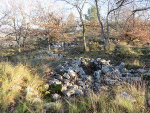 Les vestiges des habitations situées sur l'oppidum