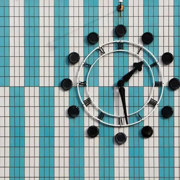 The clock on the Adams House, Harlow, Essex. John Graham was the architect in charge of the realisation of the building, completed c1956. Photograph: Alex James Bruce
