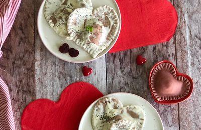 Cuori di Sfoglia alla Barbabietola con Crema al Gorgonzola