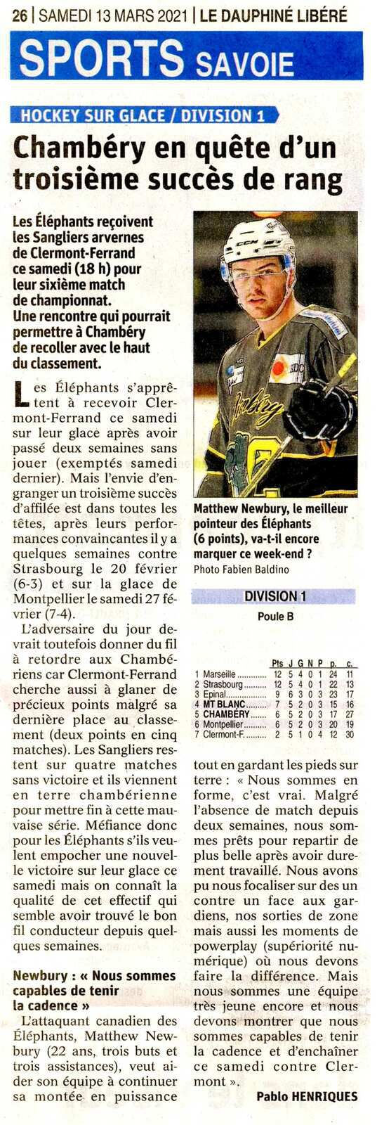 HOCKEY sur glace CHAMBERY - CLERMONT  article du DL avant match