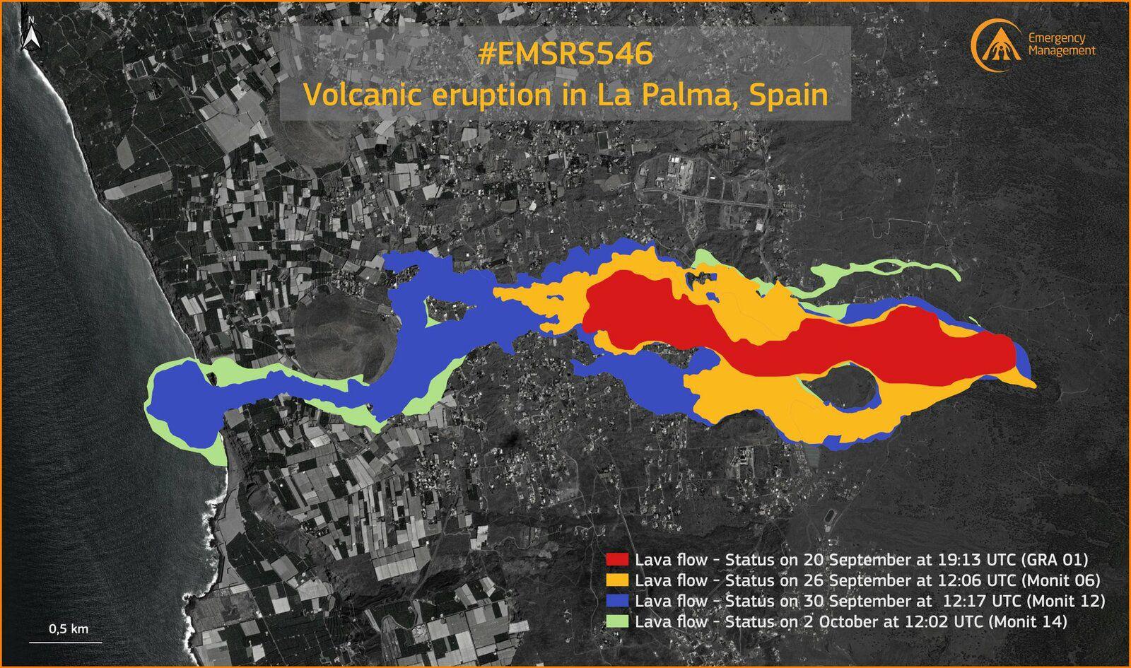 La Palma / Cumbre Vieja - extension des coulées de lave au 02.10.2021  - Doc. Copernicus EMSR