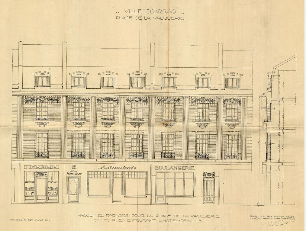 Place de la Vacquerie, Librairie, Au Lion d'Or, Estaminet, Boulangerie. Pierre Paquet, architecte, 1924.