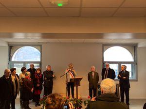 Cérémonie d'inauguration avec de gauche à droite, Jean-Claude Lessard (Conseiller régional), Pierre Maille (Président du CG 29), Jacqueline Donval (Maire d'Audierne) et François Marc (Sénateur)