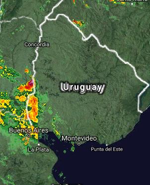 Por estas horas se empieza a notarse un aumento en la intensidad del viento, con rachas superiores a 30 Km/h. Asi mismo un aumento en la nubosidad, no se descartan formacion de tormentas en el Litoral. Se observa el Ingreso desde el Litoral de Argentino Uruguayo, algunas actividades de  tormentas electricas