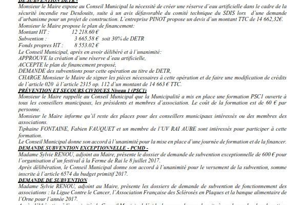 Réunion de Conseil Municipal en date du 02 mai 2017