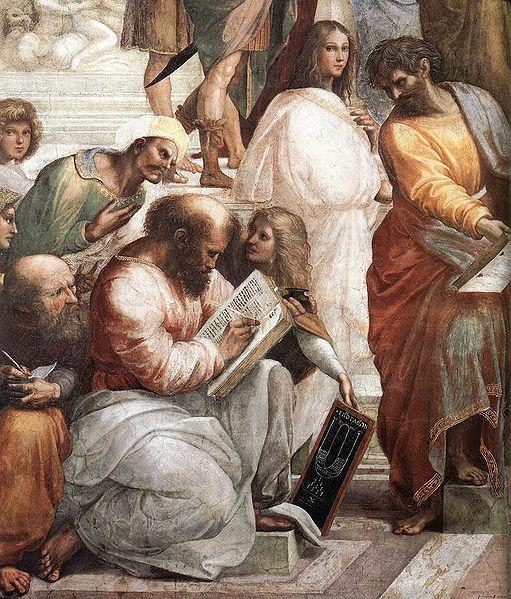 "Óleo sobre lienzo: ""La muerte de Sócrates"", Jacques-Louis David;  ""Pitágoras"", Sanzio; Fresco (Detalle), Rafael"