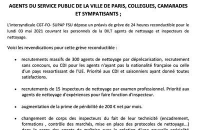 Grève reconductible des agents et inspecteurs de nettoyage de la DILT