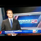Two shot goes haywire as the camera does a 360 during a WSAZ live broadcast.