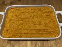 Parmentier de lieu et patates douces au curry