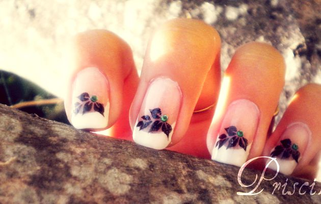 Stamping French manucure feuilles