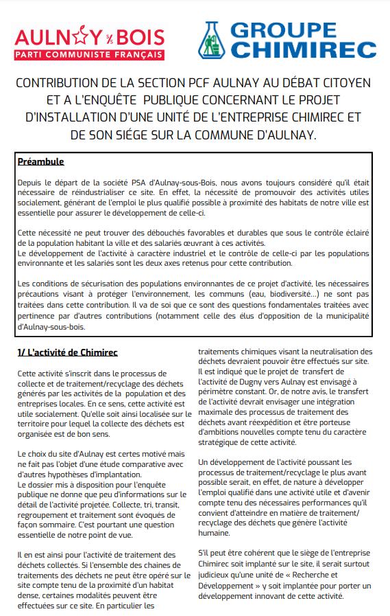 La section locale du PCF s'exprime sur l'installation de Chimirec à Aulnay-sous-Bois