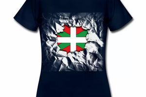 T shirt Pays Basque bleu m femme 64 Drapeau basque Design