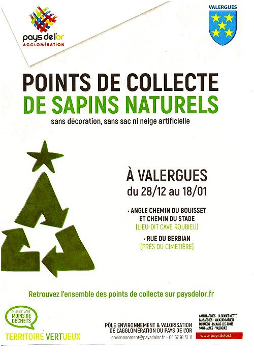 Points de collecte des sapins à Valergues
