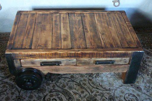 table basse bois et métal sur roues
