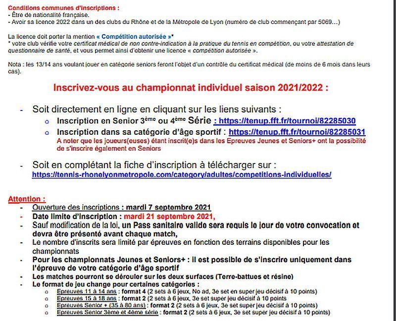 Inscriptions Championnat Individuel 2002 - 2022