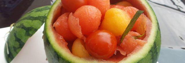 Billes de pastèque, melon, tomates cerises...