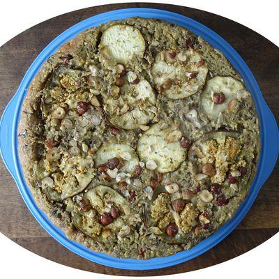 Tarte tatin aux aubergines, fromage de chèvre & noisettes - IG Bas