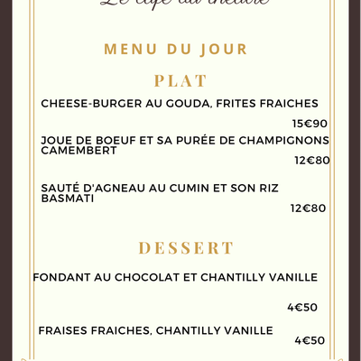 menu du vendredi 9 Avril 2021