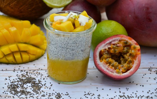 Chia pudding exotique (coco, mangue, passion)