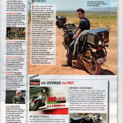 Jean RIDE Tour d'Australie, Article Moto-Journal du 28 octobre 2010