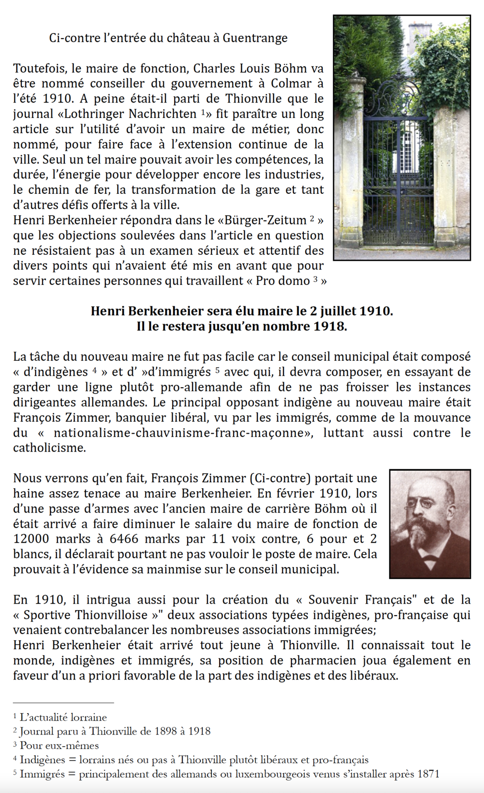 1910 à 1918 - Heinrich BERKENHEIER, maire de Thionville.