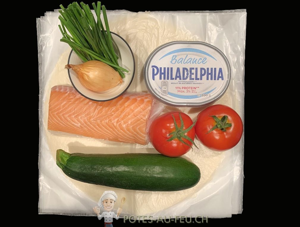 Tarte légère aux tomates, courgettes et saumon