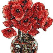 Poppies in vase photo stitch free embroidery design