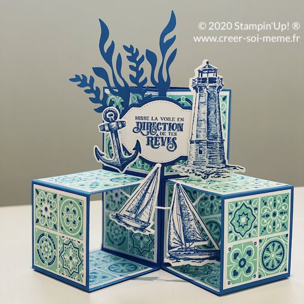 Tutoriel offert gratuit carte cubes pop up avec coupe papier stampin up et lot terre a l'horizon marin