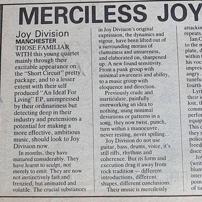 Article sur Joy Division en 1978, NME