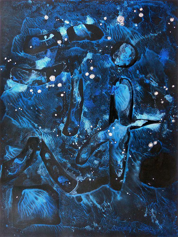 Pochoir et lavis - 2 peintures de Marie de Valon