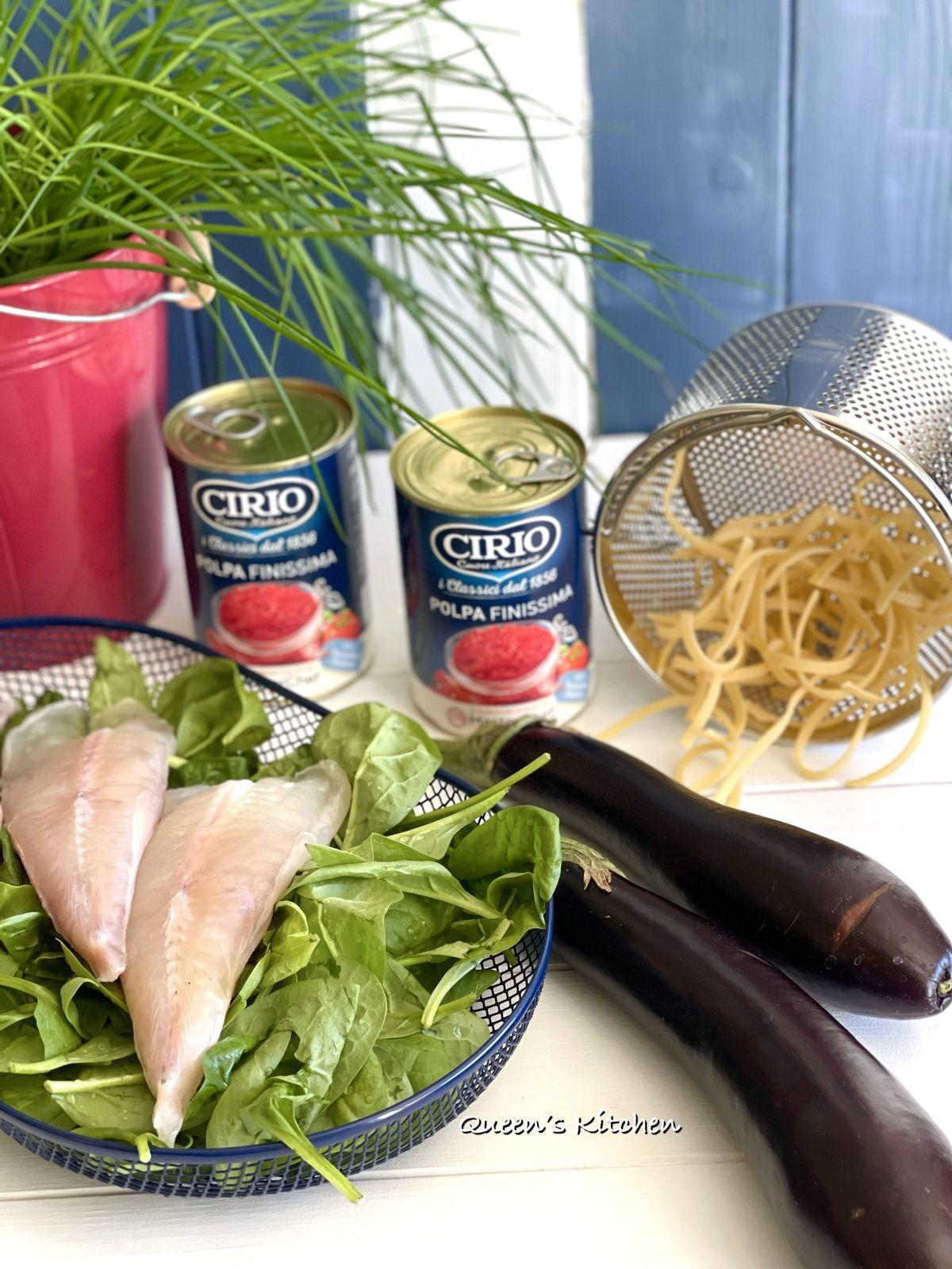 Scialatielli con pacchetti di Melanzane e Pescatrice al Pomodoro