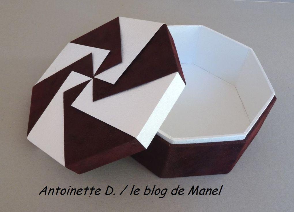 ANTOINETTE D/ELEVE DE MANEL / BOITE OCTOGONALE ONGLET ET ORIGAMI