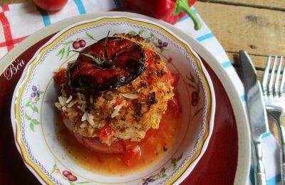 Tomates farcies au riz, à la féta et au zaatar