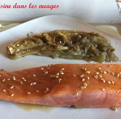 Pavés de saumon fumé juste poêlé et sauce soja-sésame-gingembre-citron vert