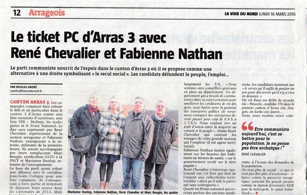 Elections départementales : Arras 3 par la voix du Nord