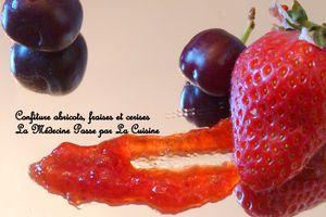 Confiture abricots, fraises et cerises