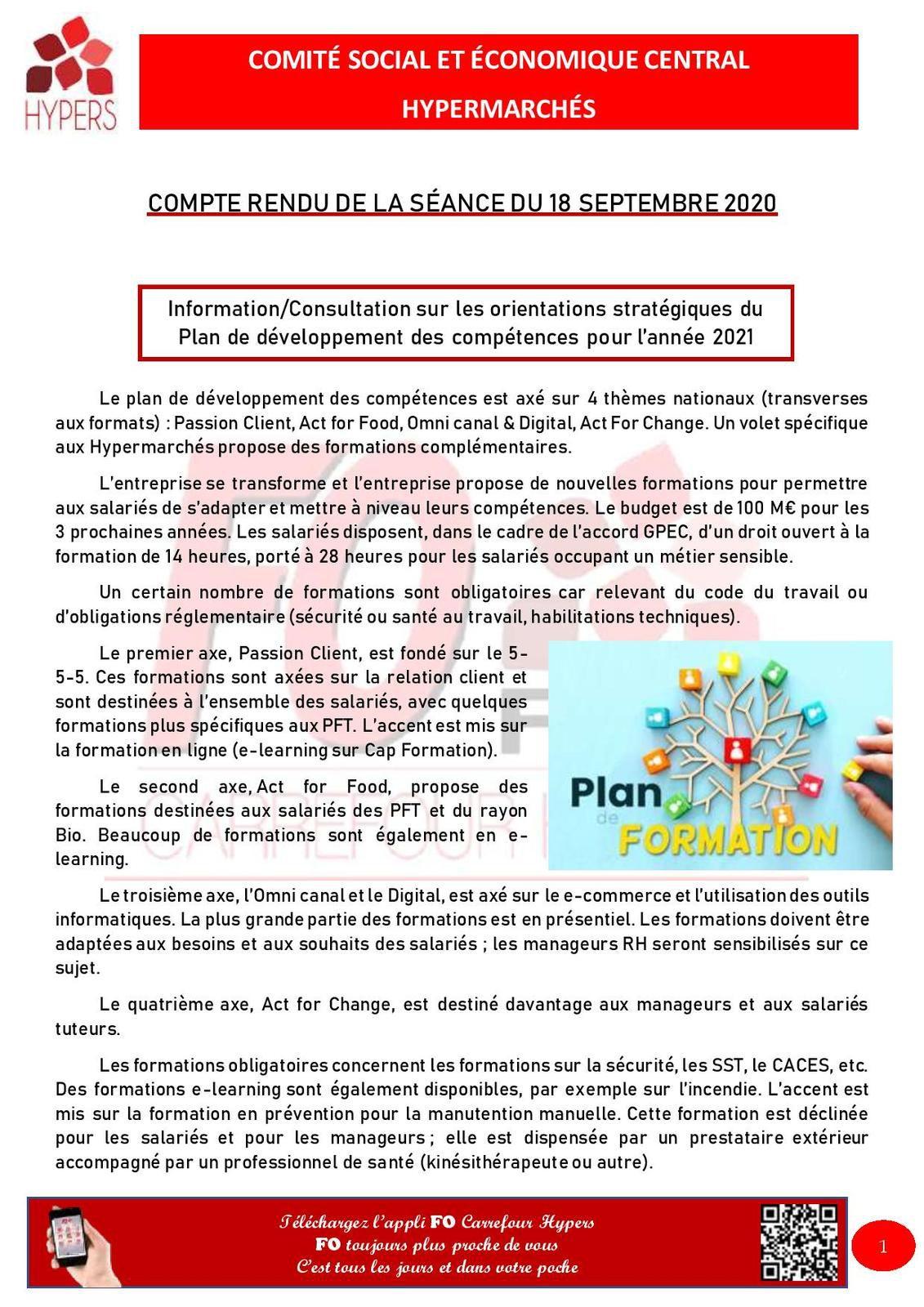 COMITÉ SOCIAL ET ÉCONOMIQUE CENTRAL HYPERMARCHÉS COMPTE RENDU DE LA SÉANCE DU 18 SEPTEMBRE 2020