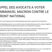 APPEL DES AVOCATS A VOTER EMMANUEL MACRON CONTRE LE FRONT NATIONAL