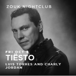Tiësto date  Zouk Nightclub  Las Vegas, NV - october 08, 2021