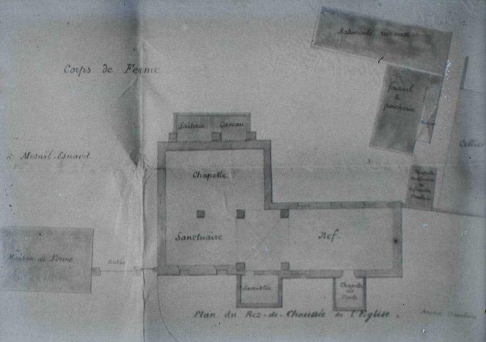 Le plan de l'église Notre-Dame de Quévreville. Cliché sur verre d'Robert Eudes conservé aux archives de Seine-Maritime (cote 11Fi1625).