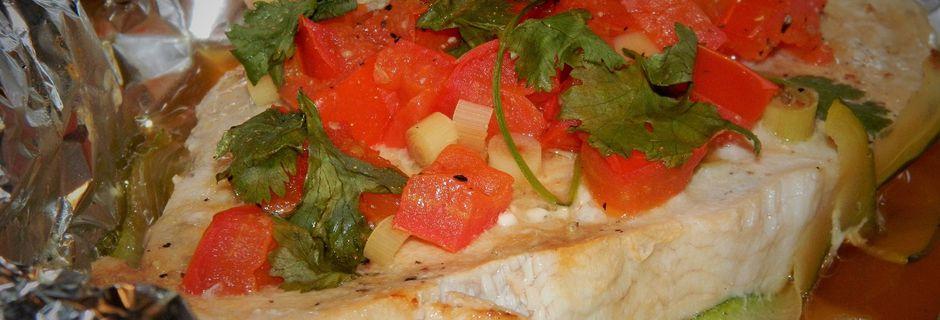 Papillote d'Espadon à la Citronnelle, Coriandre et ses Petits Légumes